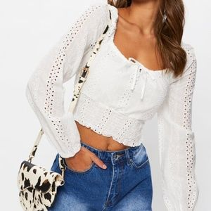 ALLY White Cotton Broderie Crop Top Size 10 NWT